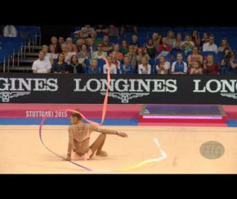Aleksandra SOLDATOVA (RUS) 2015 Rhythmic Worlds Stuttgart - Qualifications Ribbon